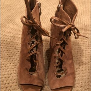 Sam Edelman Brown Lace up heeled booties